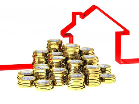 house ribbon and euro money coin on white Stock Photo - 7985014
