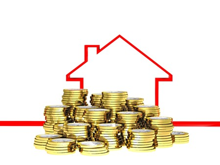 buying real estate: euro con and 3d ribbon red house on white