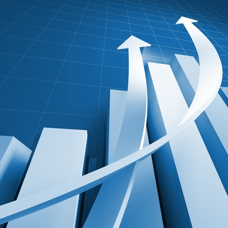 finance concept: business chart graph background with growing arrows