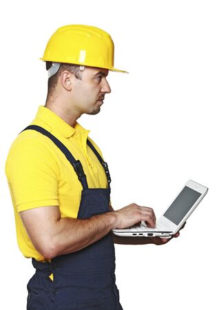 craftman: handyman with laptop isolated on white background