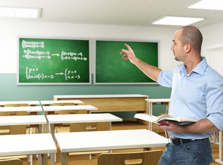 teacher: young teacher with book in 3d classroom