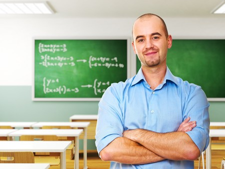 school teacher: confident young teacher in classroom 3d background