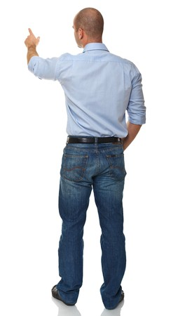 espalda: parte trasera del hombre de negocios ver aislado sobre fondo blanco