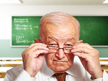 portrait of old teacher and classroom 3d background Stock Photo - 8094830