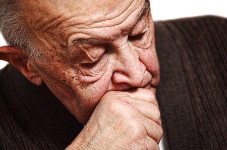 adult 80s: closeup image on sleeping old man