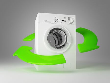 3d image of classic washing machine and green arrows
