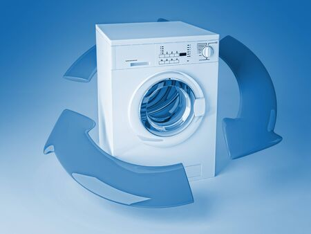 laundry concept: 3d image of classic washing machine and arrows Stock Photo