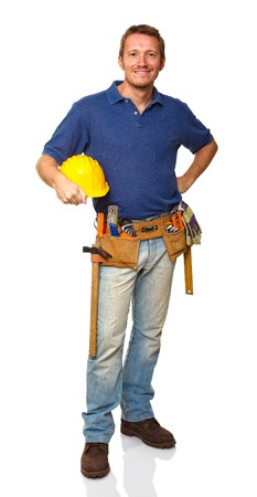 portrait of caucasian standing handyman on white background Stock Photo - 8156773