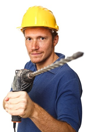 portrait of construcion worker with drill on white background photo