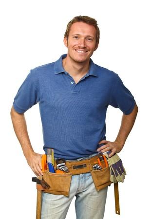 smiling handyman on white background fine portrait Stock Photo - 8156797