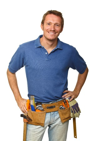 plumber tools: smiling handyman on white background fine portrait
