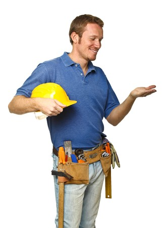 confident handyman portrait isolated on white background photo