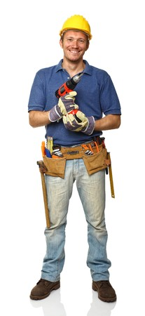 plumber tools: smiling manual worker isolated on white fine portrait