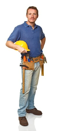journeyman: standing manual worker portrait on white background