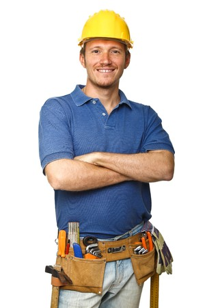 portrait of confident handyman crossed arms isolated on white photo