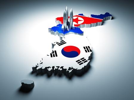 Noord- en Zuid-Korea en 3d raket achtergrond Stockfoto
