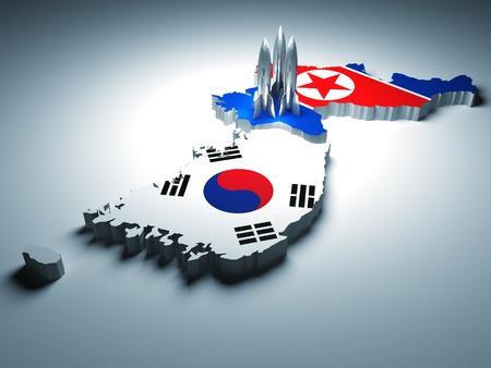 north and south korea and 3d rocket background