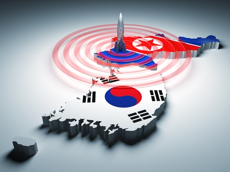 south asians: north and south korea and 3d rocket background