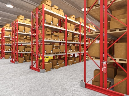 warehouse cargo: indoor image of classic warehouse building 3d background Stock Photo