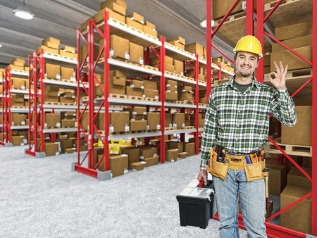 happy manual worker in classic warehouse 3d background photo