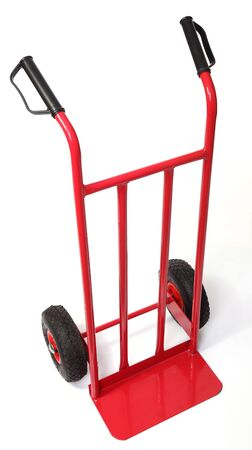 handtruck: classic red handtruck isolated on white background Stock Photo