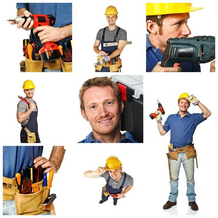 portrait of smiling handyman and works tools detail on white background photo