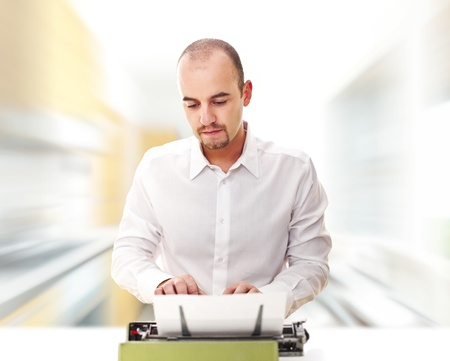 man use typewriter and abstract speed image background photo