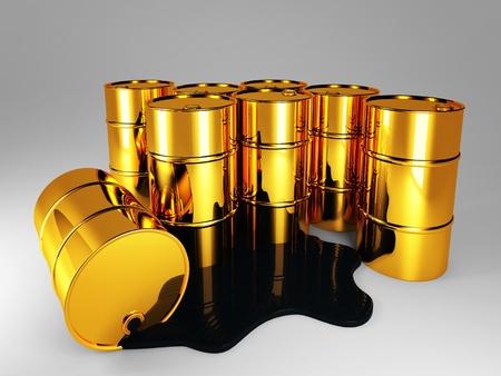 3d image of oil golden barrel background Stock Photo - 8442509