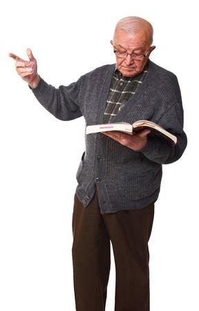standing senior white teacher isolated  photo