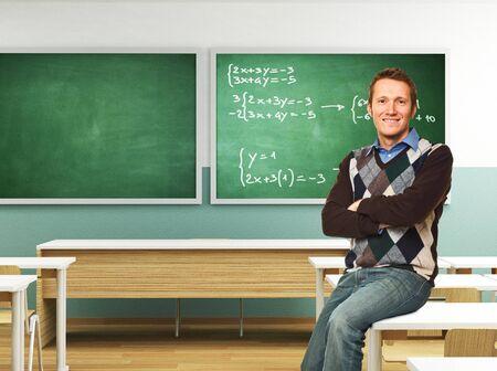 classroom teacher: portrait of smiling teacher in  3d classroom