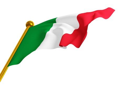 italy flag: fina 3d de bandera italiana cl�sica, aislado en blanco