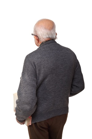 portrait of old teacher with a book, rear view