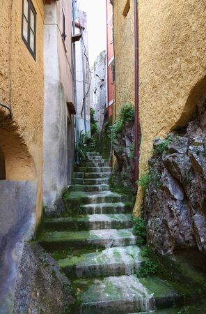 maratea: detail of ancient stair in maratea town, italy