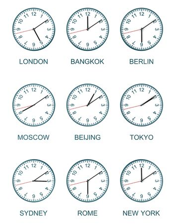 timezone: nine time zone clock isolated on white background
