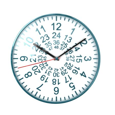 ours: nice 3d image of 48 ours watch on white background Stock Photo