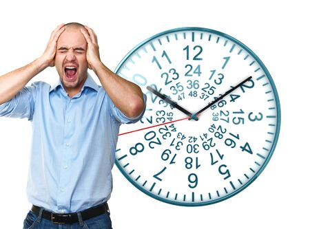 timezone: portrait of man screaming with clock background