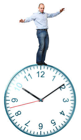 man try to balance on classic watch isolated white background photo