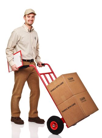 package: smiling delivery man with red handtruck isolated on white