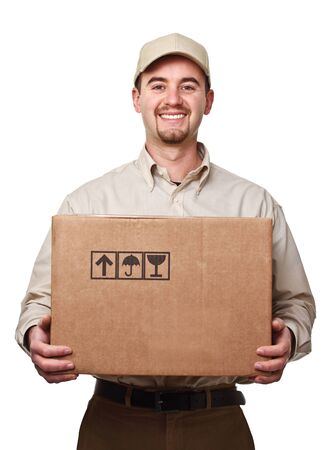 delivery man: smiling delivery man holding a big parcel isolated on white