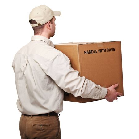 man rear view: delivery man with parcel rear view isolated on white