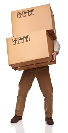 man with two big boxes isolated on white background Stock Photo - 8643506