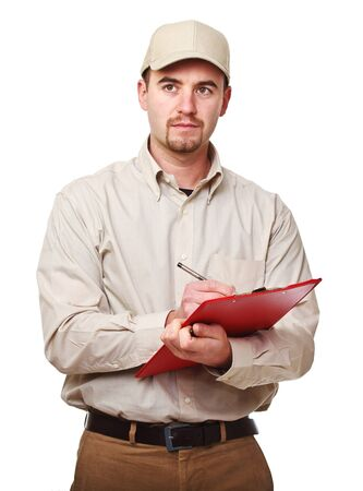 mail man: young caucasian delivery man at work isolated on white background