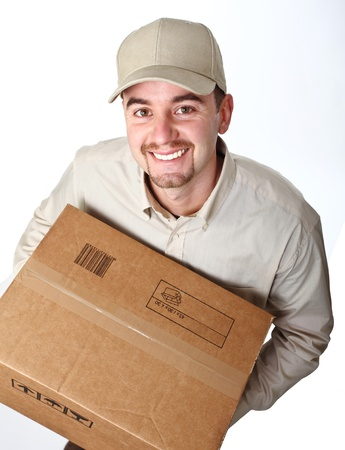delivery man: classic young delivery man view from above isolated on white Stock Photo