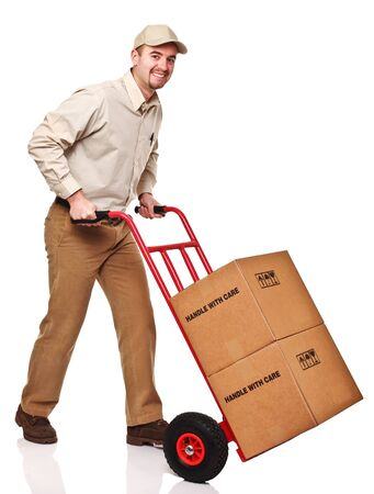 delivery man: friendly delivery man isolated on white background Stock Photo