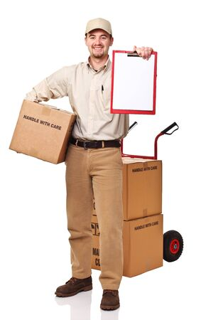 smiling delivery man isolated on white photo