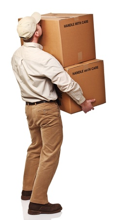 delivery package: delivery man with parcel rear view isolated on white