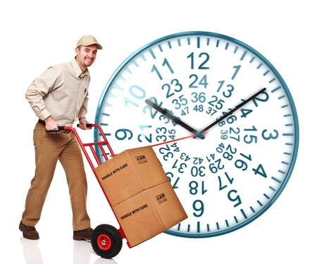 courier man: nice 3d image of 48 ours watch on white background and delivery man