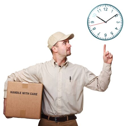 mail man: delivery man with parcel isolated on white point 3d watch