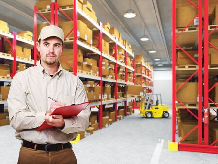 delivery man: delivery man at work and 3d warehouse background Stock Photo