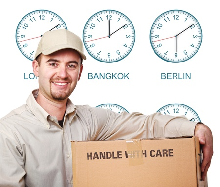 timezone: nine time zone clock and smiling delivery man